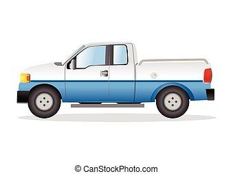 lastbil, uppe, illustration, hacka