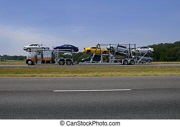 lastbil, vägen, med, färgrik, bilar, transport