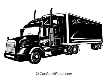 lastbil, vektor, illustration, halv-, ikon