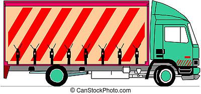 lastbil, vektor, tung