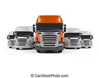 lastbiler, isoleret, på hvide