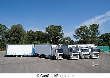 lastbiler, og, tanker
