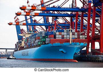 lastfartyg, med, behållare, in, den, hamn, av, hamburg