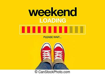 lastning, begreb, weekend