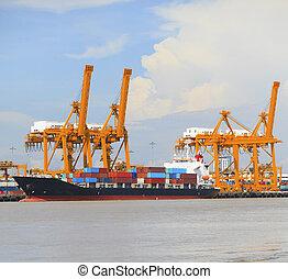lastning, beholder, stor, værktøj, havn, goods, kran, skib