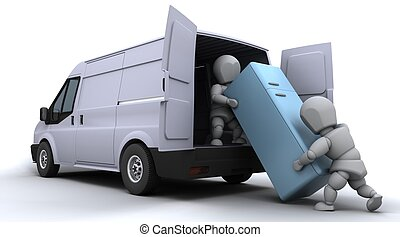 lastning, godsvognen, mænd, afsked