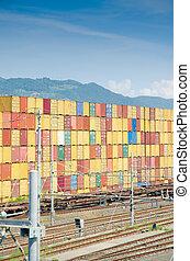lastning, havn, beholdere, stacks