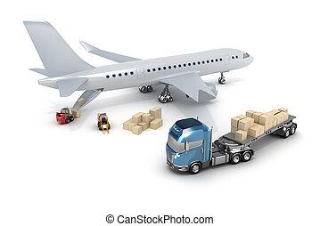:, lastning, lufthavn, forklift