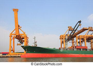 lastning, stor, kommerciel, havn, kran, skib