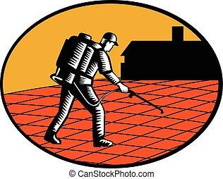 lastricatore, sealer, appaltatore, casa, ovale, woodcut