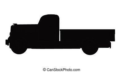 lastwagen, 37, silhouette, ansteigen