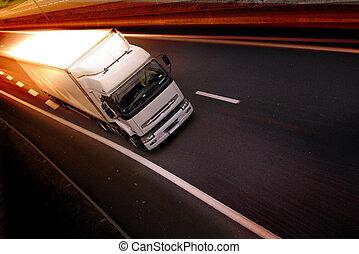 lastwagen, auf, landstraße
