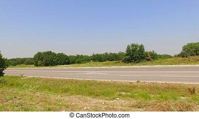 lastwagen, bewegen, entlang, ländlicher weg