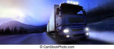 lastwagen, country-road/photographic-retouching, fahren