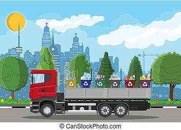 lastwagen, für, transport, garbage.