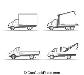 lastwagen, grayscale, bilder, auf, a, weißer hintergrund