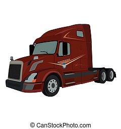 lastwagen, halblastwagen, lastwagen, vektor, abbildung