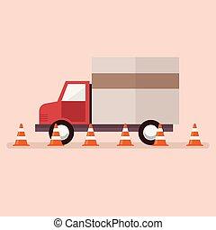 lastwagen, handeln kegel