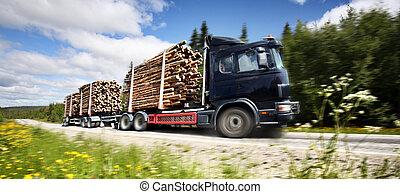 lastwagen, holzstamm