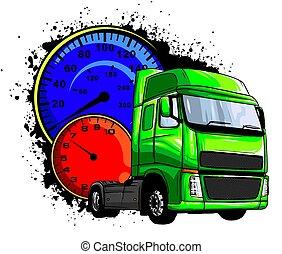 lastwagen, karikatur, abbildung, vektor, halb, design, kunst