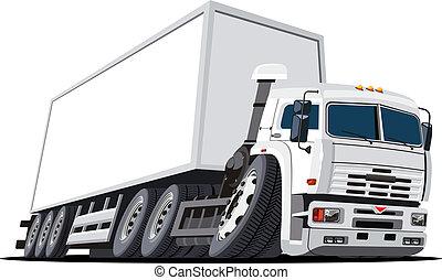 lastwagen, karikatur, halb