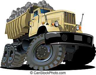 lastwagen, karikatur, müllkippe