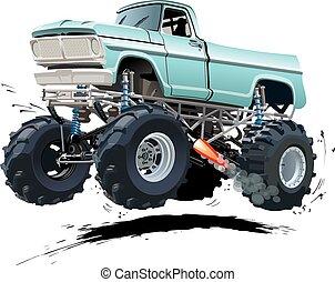 lastwagen, karikatur, monster