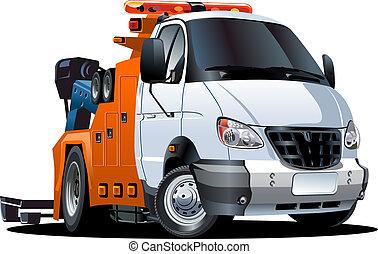 lastwagen, karikatur, schleppen