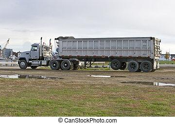 lastwagen, müllkippe