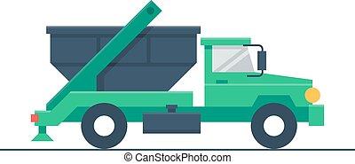 lastwagen, mit, abfall- behälter