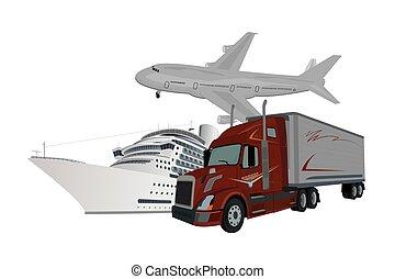 lastwagen, schiff, motorflugzeug, auslieferung, begriff, vektor, abbildung
