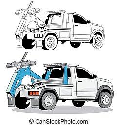 lastwagen, schleppen, zeichnung