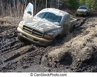 lastwagen, straße, mudding