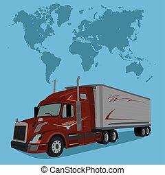 lastwagen, und, weltkarte, vektor, abbildung