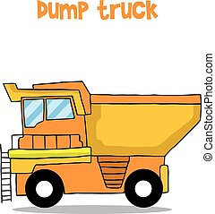 lastwagen, vektor, kunst, karikatur, müllkippe