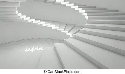 latéral, escalier