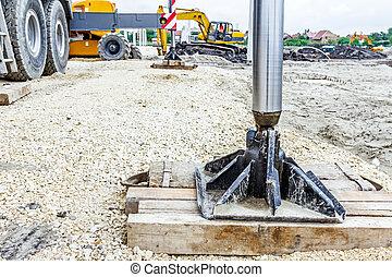 latéral, soutenu, hydraulique, bois, stabilisateur, pied, grue, sécurité