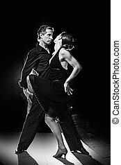 latín, bailando, baile, pareja, caliente, calle, noche