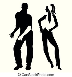 latín, bailando, pareja, joven, music:, time., merengue, ...