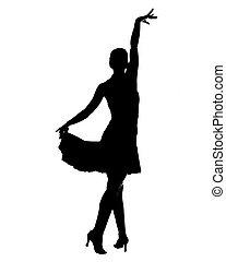 latín, bailarín, silueta