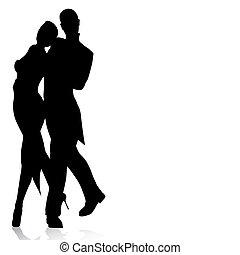 latín, bailarines, silueta