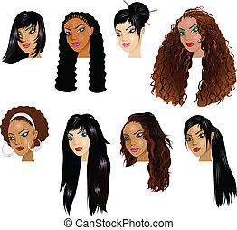 latín, caras, mujeres, asiático