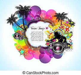 latín, disco, tropical, música, plano de fondo, aviadores, ...