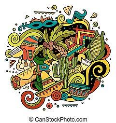 latín, hand-drawn, ilustración, norteamericano, doodles, ...