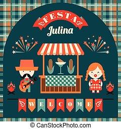 latín, junio, feriado, norteamericano, fiesta, brazil.