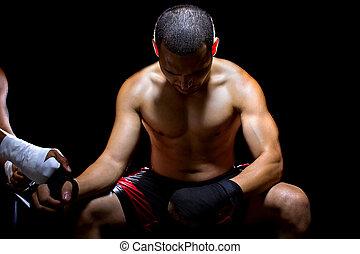 latín, luchador, preparando