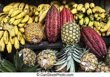 latín, mercado, fruta, calle, américa, ecuador