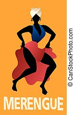 latín, silueta, vector, music., merengue., bailando, ...