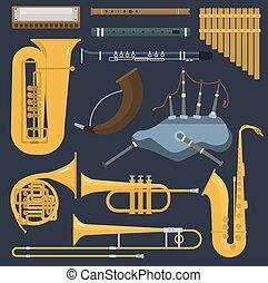 latón, brillante, trompeta, herramienta, instrumentos,...