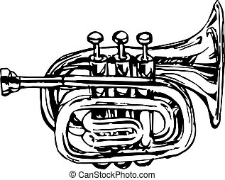 latón, musical, corneta, instrumento